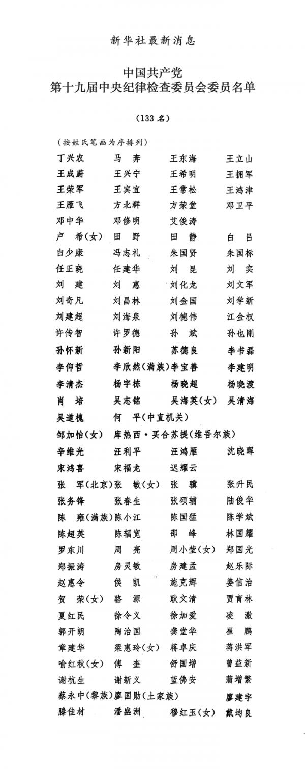 十九大中纪委名单