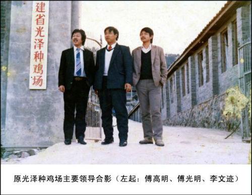 原光泽种鸡场主要领导合影(左起:傅高明、傅光明、李文迹)