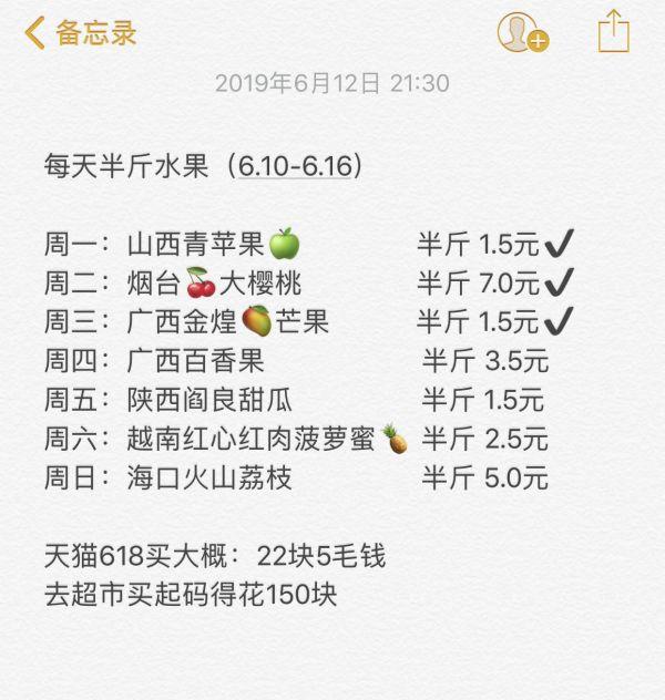 网友晒出自己的 每天半斤水果 计划,发现:要实现专家的建议,通过天猫618买水果,每周只要花22块5毛钱