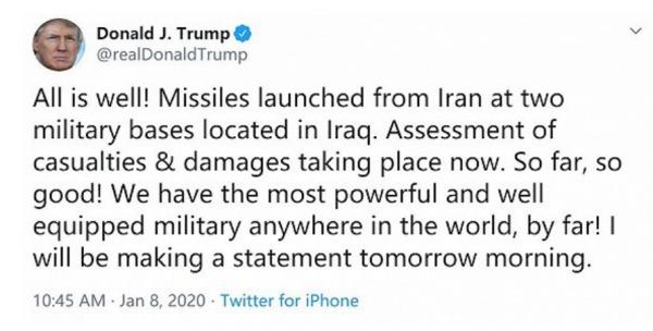 申搏网:伊朗导弹两次袭击美军基地!特朗普:正在评估损失,目前都挺好